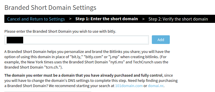 Add short domain bitly